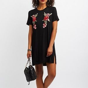 Stretchy Black Rose T-Shirt Dress